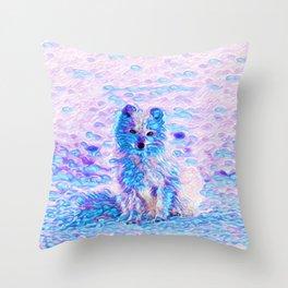 Arctic Fox Dream   Painting Throw Pillow