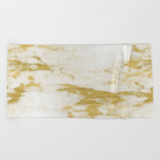 Marble - Shimmery Gold Marble and White Beach Towel