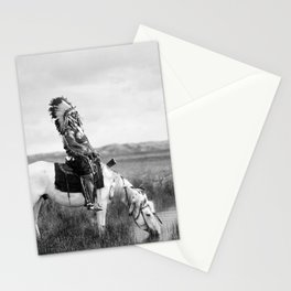 Red Hawk, Oglala Indian Chief on a horse at a pool of water on the plains black and white American Old West photograph Stationery Cards