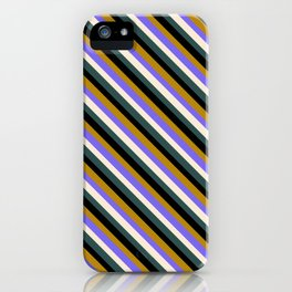 Colorful Dark Goldenrod, Medium Slate Blue, Beige, Dark Slate Gray & Black Colored Stripes Pattern iPhone Case