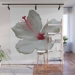 Pure White Hibiscus Tropical Flower Wall Mural