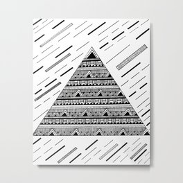 Triangle with Black & White Geometric Shapes Metal Print