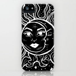 Sun and Moon Grunge Goth Witchy Hand Drawn iPhone Case