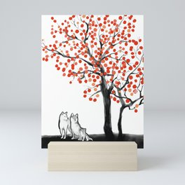 Shiba Family Under The Persimmon Tree Mini Art Print