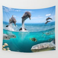 wildlife Wall Tapestries featuring Marine Wildlife by FantasyArtDesigns