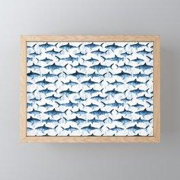 sharks - blue Framed Mini Art Print