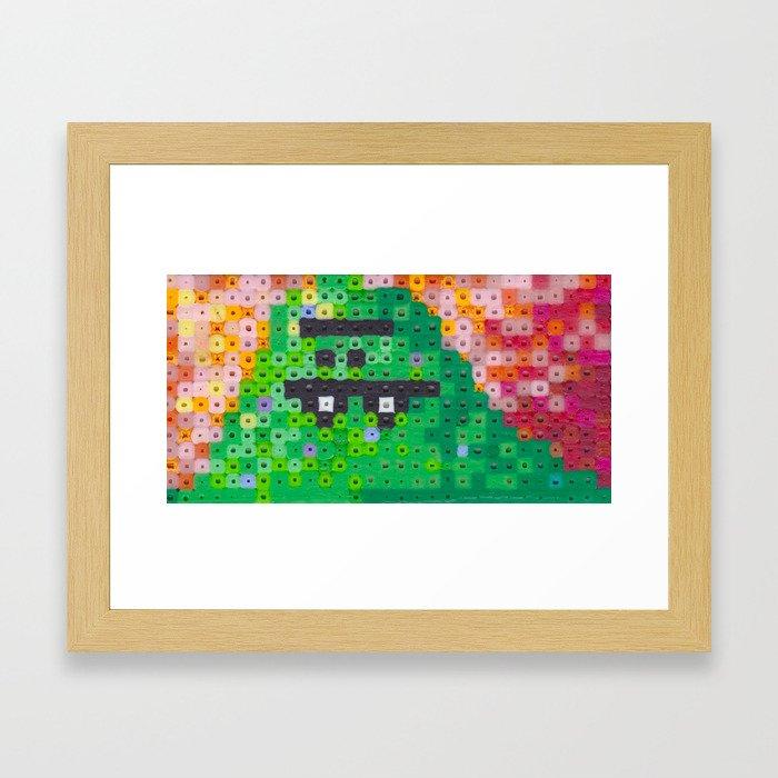Perler bead monster Framed Art Print