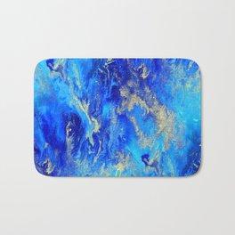Blue & Gold Abstract d171011 Bath Mat