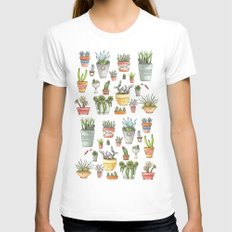 Potted Succulents White MEDIUM Womens Fitted Tee