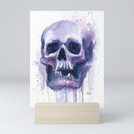 Skull in Watercolor Galaxy Space Mini Art Print