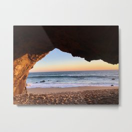 Sunset From a Beach Cave Metal Print