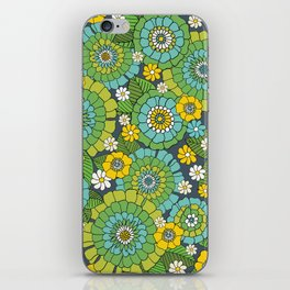 busy bunch blue green iPhone Skin