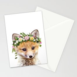 Baby Fox With Flower Crown, Baby Animals Art Print By Synplus Stationery Cards
