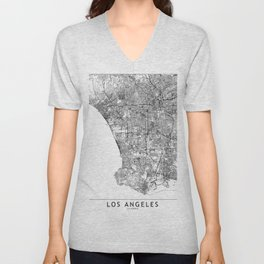 Los Angeles White Map Unisex V-Neck