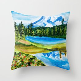 Mt. Rainier Reflections Lake Throw Pillow