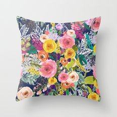 Autumn Blooms Colorful Painted Floral Print // Navy Throw Pillow