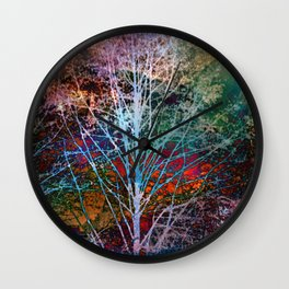 trees in the night Wall Clock