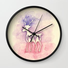 Reindeer Silhouette Watercolor Wall Clock