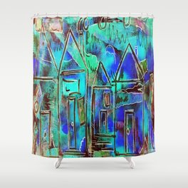 Neon Blue Houses Shower Curtain