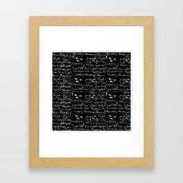 White French Script on Black background with White birds Framed Art Print