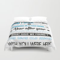floyd Duvet Covers featuring Wish you were here - Pink Floyd by Fiona Pouet