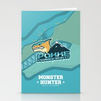 monster hunter Stationery Cards featuring Monster Hunter All Stars - Pokke Permafrosts  by Bleached ink