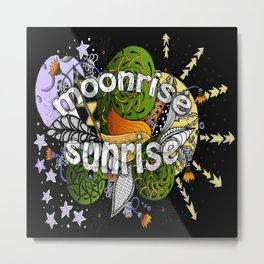 Space Zentangle Moon and Sun and Stars Metal Print