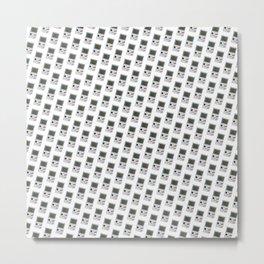 Gameboy white pattern Metal Print