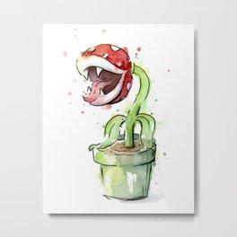 Piranha Plant Art Nintendo Mario Videogame Geek Gaming Metal Print