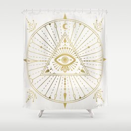 All-Seeing Eye Mandala – Gold Palette Shower Curtain