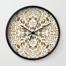 Floral Mix – Mocha Wall Clock