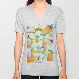 180719 Koh-I-Noor Watercolour Abstract 19art, modern, abstract, nordic, watercolour, watercolor,colo Unisex V-Neck