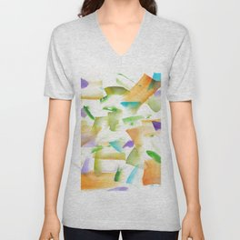 180719 Koh-I-Noor Watercolour Abstract 19art, modern, abstract, nordic, watercolour, watercolor,colo Unisex V-Neck