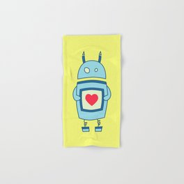 Cute Clumsy Robot With Heart Hand & Bath Towel