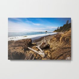 Remnants - Driftwood Logs Come to Rest on Shore of Washington Coast Metal Print