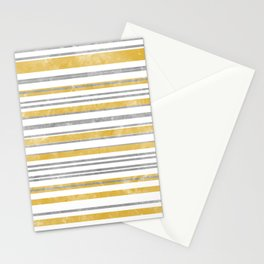 Sun Kissed Stripes: Silver and Gold Stationery Cards