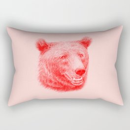 Brown bear is red and pink Rectangular Pillow