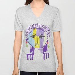 Crazy Face Purple Curls Unisex V-Neck