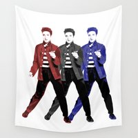elvis presley Wall Tapestries featuring Elvis Presley - Red, White, Blue - Pop Art by William Cuccio aka WCSmack