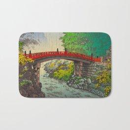 Vintage Japanese Woodblock Print Garden Red Bridge River Rapids Beautiful Green Forest Landscape Bath Mat