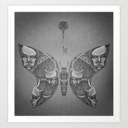 Faces Butterfly 1 Art Print