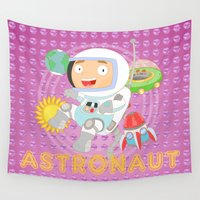 astronaut Wall Tapestries featuring Astronaut by Alapapaju