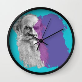 Leo Tolstoy portrait blue and purple Wall Clock