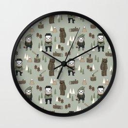 Forest lumberjack and bear nursery kids cute woodland camper gifts Wall Clock