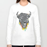 bison Long Sleeve T-shirts featuring Bison by casiegraphics