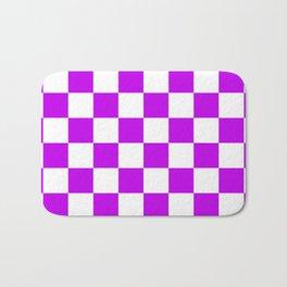 Cheerful Purple Checkerboard Pattern Bath Mat