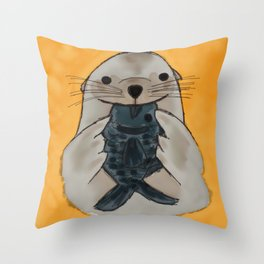 Fishy Seal Throw Pillow