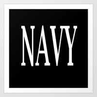 navy Art Prints featuring NAVY by shannon's art space