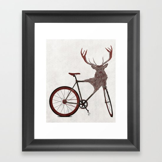 Stag Bike Framed Art Print