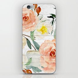 Watercolor Flowers on Rustic Wood iPhone Skin